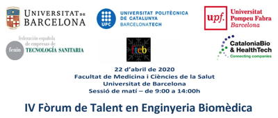 Jornada «Forum de talento en Ingenieria Biomedica» 22 Abril 2020 by @FENIN_es @HT_Cluster @UniBarcelona @la_UPC @UPFabra