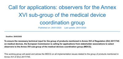 Convocatoria de observadores expertos para el grupo de trabajo MDCG para productos de anexo XVI (sin fin médico)