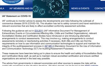 Guía IAF [ @IAF_Global ] para la realización de auditorias de calidad y reglamentarias en circunstancias extraordinarias (e.g. COVID19)
