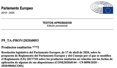 Aprobado el aplazamiento de 1 año en la fecha de aplicación del reglamento MDR a 26 mayo 2021