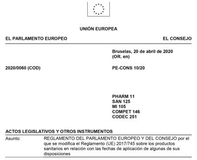 Texto definitivo aprobado en español del aplazamiento de MDR a 26 mayo 2021