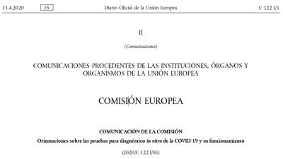 Directrices de la Comisión Europea sobre los tests IVD de COVID-19 y su eficacia