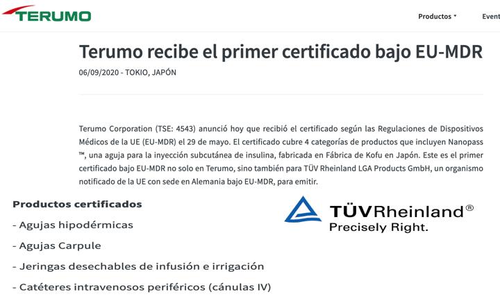 TÜV Rheinland @TUV_es emite el primer certificado con el reglamento MDR a una familia de productos sanitarios de Terumo – Enhorabuena!!
