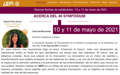 Nuevas fechas:  Symposium AEFI 10-11 Mayo 2021 Madrid by @AEFI_es