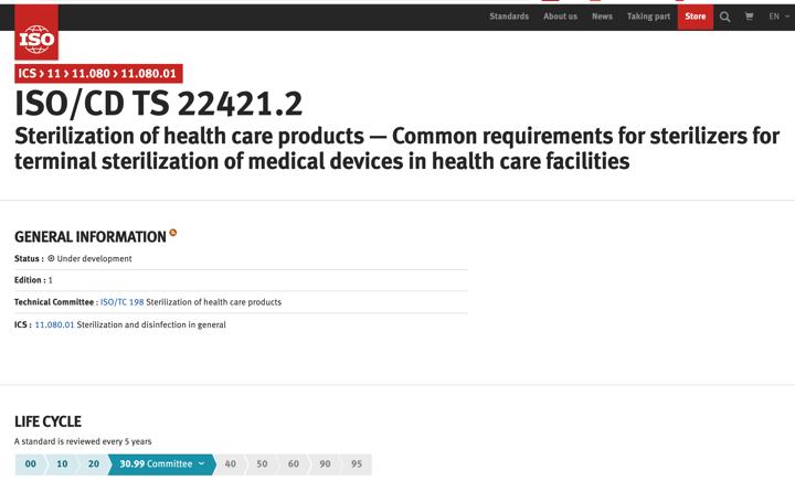 En proceso de elaboración nueva norma  ISO/TS 22421:2021 de esterilizadores hospitalarios by @ISOstandards @normasUNE