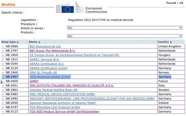 Organismos Notificados: DQS (Alemania) NB num. 0297 nuevo ON (ya 16) con MDR. Enhorabuena!!!