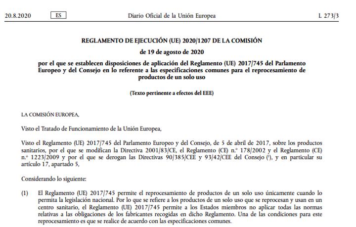 Publicado Reglamento de ejecución (UE) 2020/1207 especificaciones comunes reprocesamiento ps un solo uso