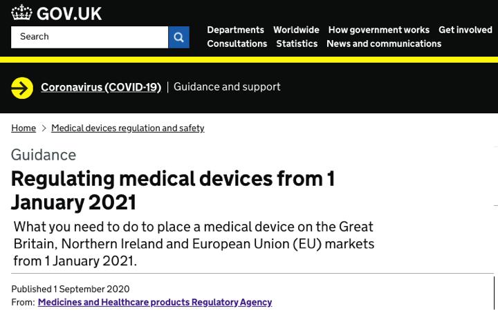 BREXIT – La @MHRAdevices actualiza los requisitos UK para los productos sanitarios a partir de 1 de Enero de 2021