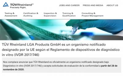 Organismos Notificados: TÜV Rheinland LGA Products ( @tuv_es ) NB num. 0197 nuevo ON con IVDR. Enhorabuena!!!