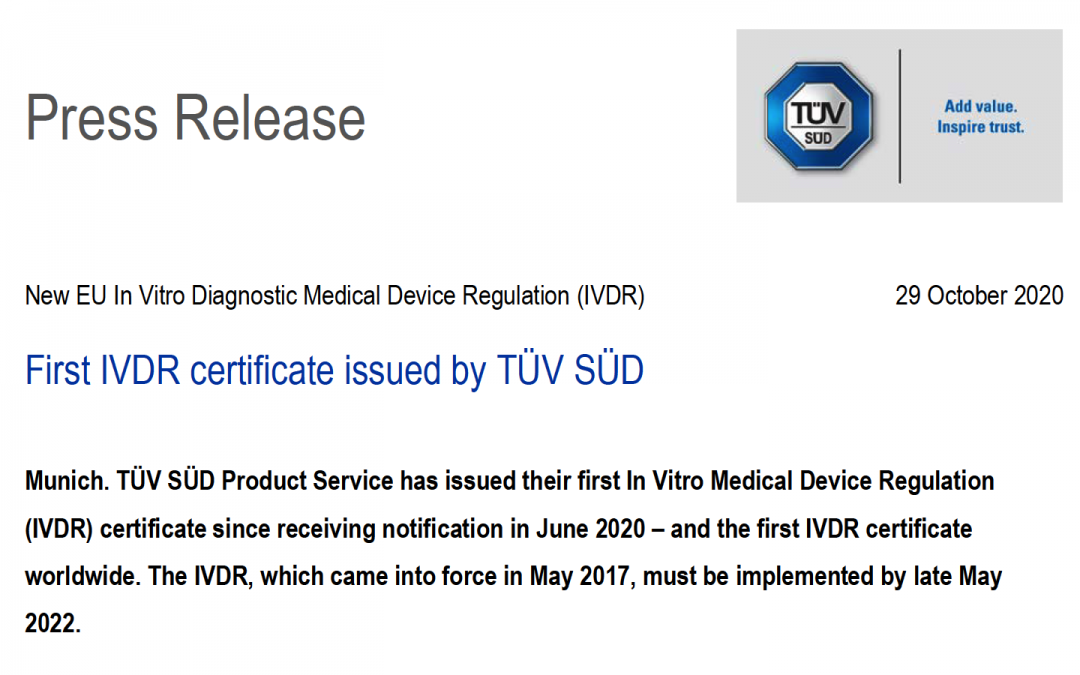 TÜV SÜD @TUVSUD emite el primer certificado con el reglamento IVDR a un producto clase B – Enhorabuena!!