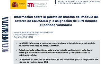 En producción el modulo de registro de actores de EUDAMED @EU_Health y registrados los primeros actores españoles validados por la @AEMPSgob