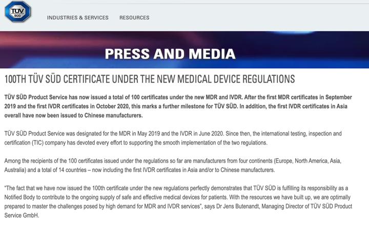 TÜV SÜD @TUVSUD anuncia la emisión del certificado nº 100 con los reglamentos MDR e IVDR – Enhorabuena!!
