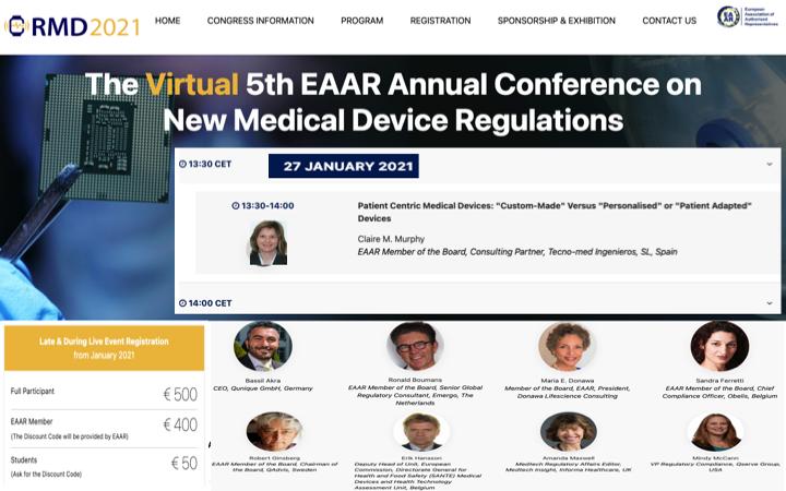 RMD 2021 EAAR Annual Conference on New Medical Device Regulations con la participación de @tecno_med