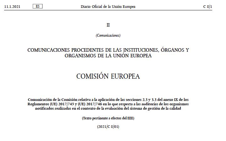 Nueva Comunicación 2021/C8/01 de la Comisión sobre auditorias remotas de los ON para MDR e IVDR