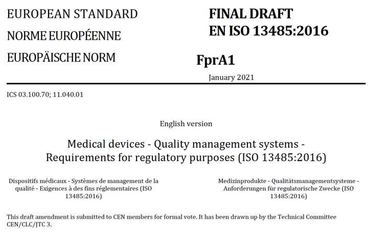 Nueva modificación de la EN ISO 13485:2016+/AC:2018, la A1:2021 para incluir los anexos ZD (MDR) y ZE (IVDR)