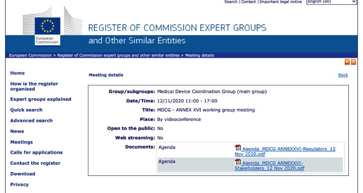 Reunión «MDCG ANNEX XVI Subgroup Stakeholders & Regulators» para tratar las especificaciones comunes para productos sin finalidad médica