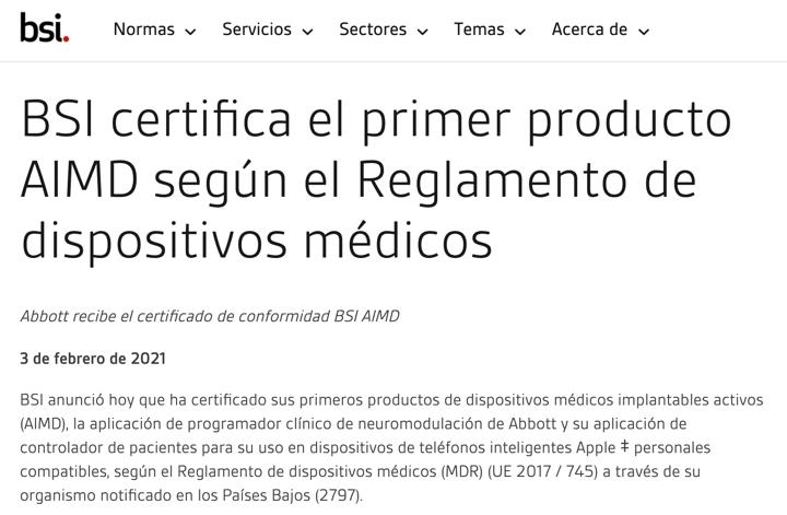 BSI anuncia el primer marcado CE de un producto activo implantable,  una app de clase III de Abott, enhorabuena @BSI_Iberia