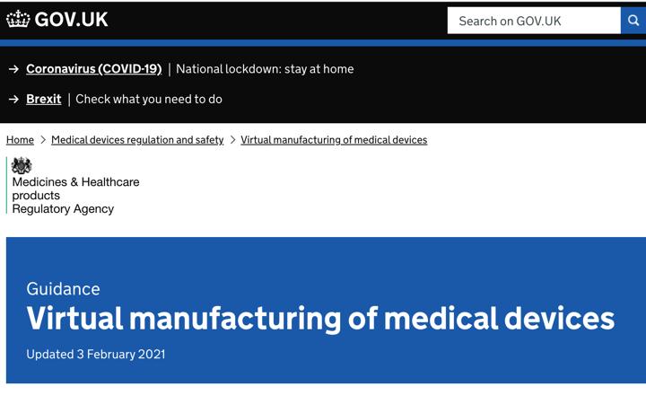 La @MHRAdevices publica nueva guía sobre «virtual manufacturing»