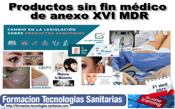 Formación «2103 – Productos sin fin médico de anexo XVI MDR»  21 Abril 2021 9h-14h