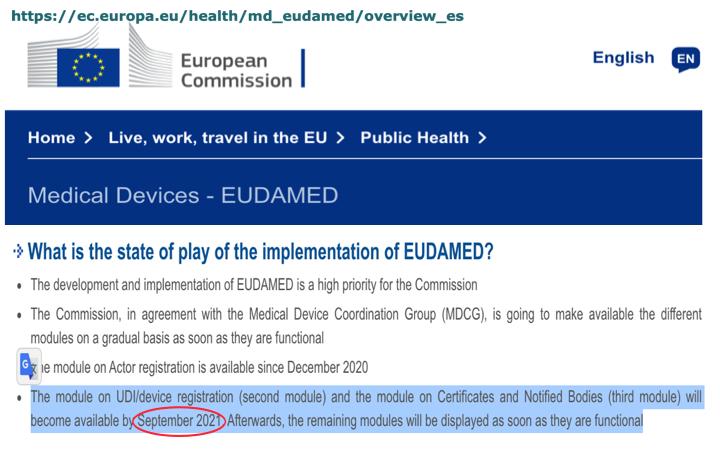 Actualización plazos disponibilidad modulos «2-Registro UDI/producto» y «3-Cetificados/ON» para la base de datos EUDAMED