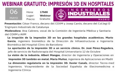 Jornada «IMPRESIÓN 3D EN HOSPITALES» by @COIIM  participa la @SEEIC_spain 6 mayo 2021 – 17h