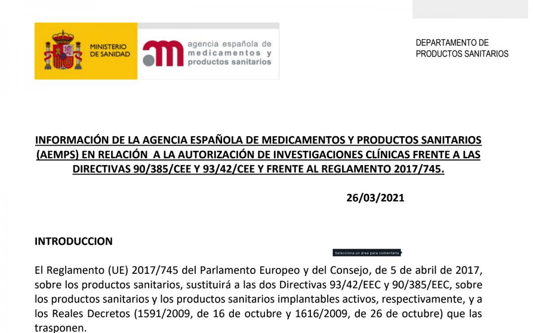 La @AEMPSgob publica una nota informativa sobre las investigaciones clínicas con productos sanitarios con MDR