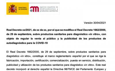 La @AEMPSgob publica un borrador del futuro Real Decreto para regular la venta al publico y publicidad de ps IVD autodiagnostico para COVID-19