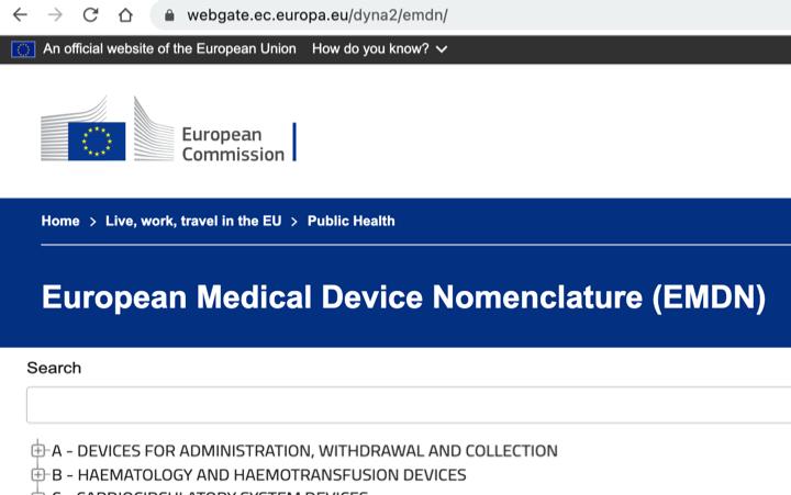Publicada online base de datos de nomenclatura de productos sanitarios EMDN que sustituye a la GMDN basada en la CND (Classificazione Nazionale dei Dispositivi medici – Italia)