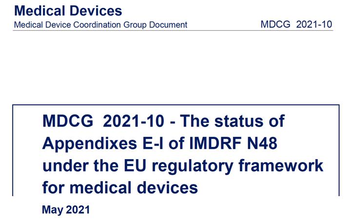 MDCG: nueva MDCG 2021-10 sobre interpretación del documento de IMDRF N48 según MDR e IVDR