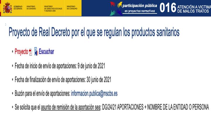 La @AEMPSgob publica el texto del proyecto de Real Decreto por el que se regulan los productos sanitarios #MDR #medicaldevices