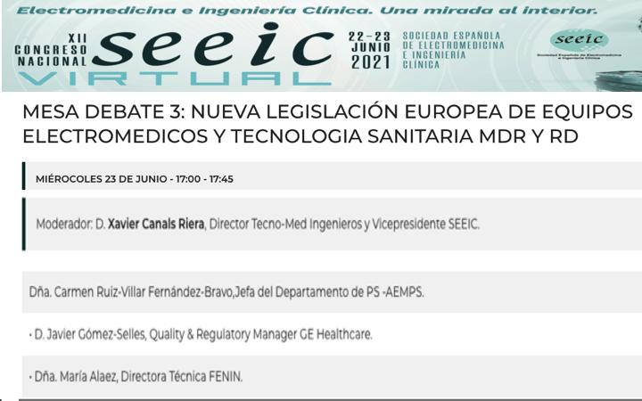 Congreso SEEIC virtual 22-23 Jun 2021 @SEEIC_spain – no te pierdas la mesa 3 del nuevo Reglamento y Real Decreto con @AEMPSgob, @FENIN_es y @GEhealthcre con el vicepresidente @XCanals