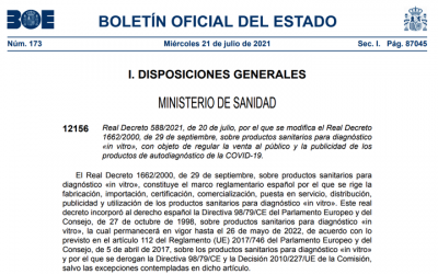 Publicado Real Decreto 588/2021 para regular la venta al publico y publicidad de ps IVD autodiagnostico para COVID-19