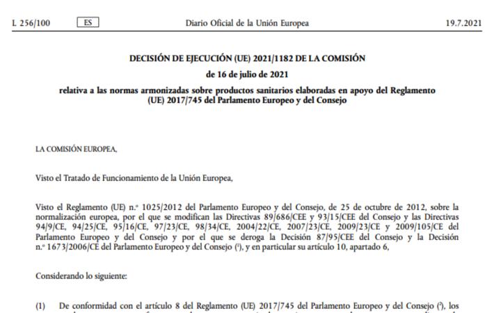 Publicada la primera lista de normas armonizadas con MDR – Decisión de Ejecución 2021/1182